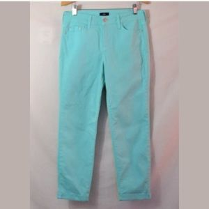 NYDJ Lift Tuck Mint Green Ankle Jeans Size 4P